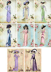 Vintage inspired fashion ladies tag blank small card set of 8 with envelopes