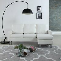 Modern White Bonded Leather Sectional Sofa - Small Space Configurable Couch