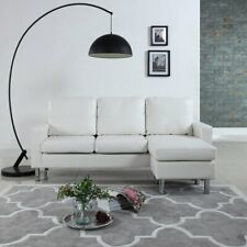 Modern White Faux Leather Sectional Sofa - Small Space Configurable Couch