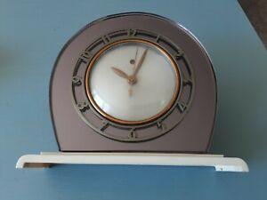 "Telechron model 4F71 ""Casino"" Electric Shelf Clock, Rare Amethyst color.  WORKS"