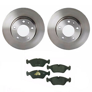 For BMW E28 524td 528e 533i Pair of Front Disc Brake Rotors Brembo & Ate Pads