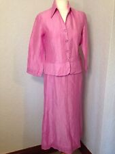 Bianca pink silk look linen mix skirt & jacket suit set wedding/cruise 10