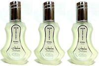 Lot De 3 Musc Parfums SULTAN AL REHAB - 35ML, Attar Halal Arabe Cèdre,Musc