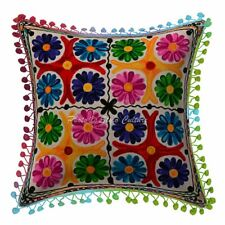 Floral Cotton Patio Cushions 16 x 16 Inch Suzani Embroidery Pillow Covers