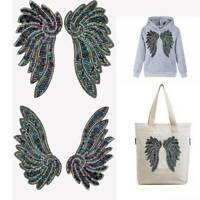 1pair Angel Wings Sequins Sew On Appliques Clothes Patch for Jacket Jeans d