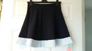 Dani's Choice Navy and Blue Two-Tone Flared Circle Skater Mini Skirt Size M UK10