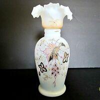 ANTIQUE BRISTOL GLASS VASE hand painted FLORAL w/embellishments c.1850-90