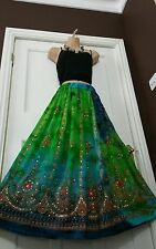 Ladies Boho Hippie Gypsy Long Sequin Skirt Rayon TIE DYE Various Clrs Frsz Party