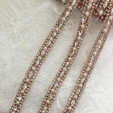Handmade Thin Bead Rhinestone Crystal Trim For Wedding Bridal Bridesmaid Belt