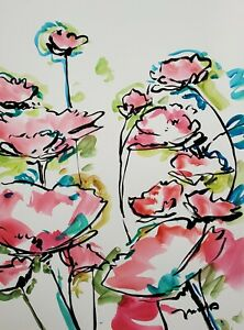 JOSE TRUJILLO 22x30 LARGE Impressionism Watercolor Painting ORIGINAL Flowers III