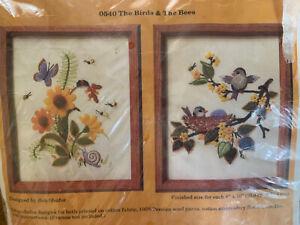 Birds and Bees Vintage Crewel Embroidery Kit Creative Circle NIP 8x10 ea