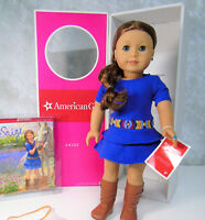 """NEW American Girl 18"""" SAIGE DOLL Meet Outfit Ring Book Red Hair Blue Eyes Box"""