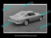 OLD LARGE HISTORIC PHOTO OF ASTON MARTIN DB4 1958 LAUNCH PRESS PHOTO 2