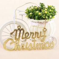 3D Schriftzug Aufhänger Merry Christmas Weihnachten Dekoration Glitzer Baum Neu.