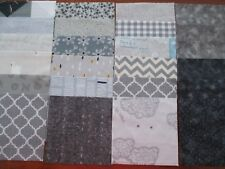 "24 x 5"" CHARM SQUARES  Shades of Grey 100% Cotton Fabric Sewing Material"