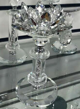 2x Romany Silver Crystal Candle Holder Lotus Filled Crushed Diamonds Home Decor