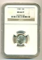 1948 Roosevelt Dime MS66 FT NGC