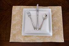 Set of 4 - Gold Paisley Jacquard Placemats Topper Table Mat
