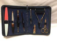 Vintage 9 piece Manicure Set In Blue Velvet Case w/Gold tone clippers - Korea
