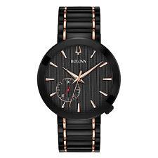 Bulova Men's 98A188 Quartz Black Dial Rose Gold Accents Two-Tone 42mm Watch