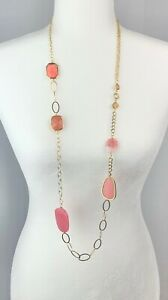 Chico's Blossom Gold Tone Coral Pink Multi Shape Chain Link Long Necklace