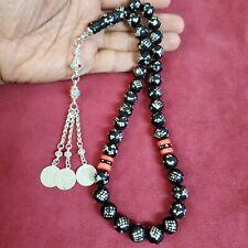 big antique islamic makkawi natural black coral prayer beads rosary 101 gram