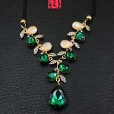 Betsey Johnson Green Rhinestone Water Drop Leaves Pendant Choker Chain Necklace