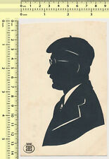 051 1950's Man Silhouette Profile Portrait Cut-Out Paper Folk Art vintage card