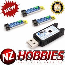 Combo Eflite 1S 3.7V 150mAh 25C (3 Pzas) Lipo Batería con / Cargador USB