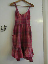 Pink Black & Gold Check Cotton V Neck Dress in Size 10 by E-Vie - Knee Length