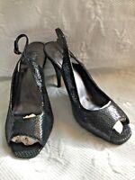 CHARLES DAVID 8.5B Black Leather Snake Print PeepToe SlingBack Heels