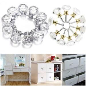 Clear Silver&Gold Crystal Diamond Glass Door Knob Cupboard Drawer Kitchen Handle