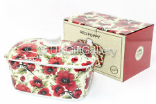 Red Poppy Design China Butter Dish with Lid Ceramic Serving Bowl Dining Table