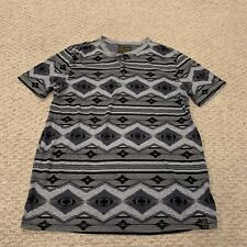 Lucky Brand Short Sleeve Patterned Henley T Shirt Mens Large
