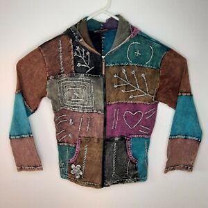 Kyber Outerwear Hoodie Jacket Stonewash Colorblocked Made in Nepal Womens Medium