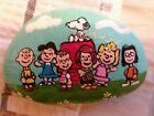 Peanuts  SNOOPY GANG hand painted RIVER rock STONE ART COLLECTIBLE NMart