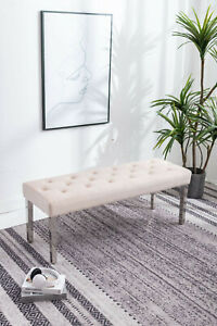 Cream velvet 130cm dining table bench with button detail and metal legs