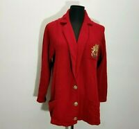 Vintage St John Jacket S Red Santana Knit Gold Buttons Lion Embroidered Crest