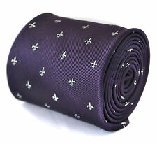 Frederick Thomas dark purple tie with fleur de lis design FT2060