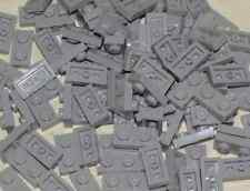 LEGO LOT OF 100 NEW LIGHT BLUISH GREY 1 X 2 DOT PLATES BUILDING BLOCKS PIECES