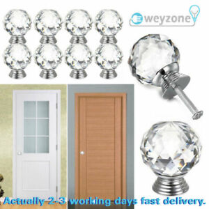 Crystal Diamond Glass Door Knobs Cupboard Clear Drawer Furniture Handle Cabinet