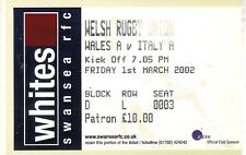 Wales A v Italy A 1 Mar 2002 RUGBY TICKET