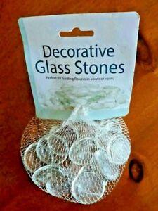 "Clear Decorative Glass Stones Large Size 1"" Diameter -14 Stones/ pouch"