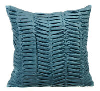 """12""""x12"""" Throw Pillow Cover Luxury Suede Grey Blue,Pintuck - Grey Blue Wind Folds"""