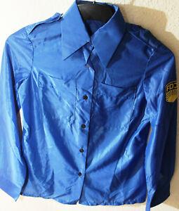 DDR FDJ Bluse Damen, Blau mit FDJ-Wappen, Kunstfaser Größe m82 (ca 38) unbenutzt