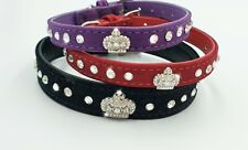 Crown collar made with Swarovski elements, soft velvet material, for cats/dogs