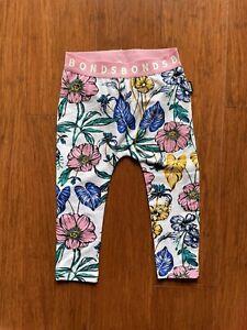Bonds Baby Tomorrow Floral White Pink Green Stretchies Leggings Size 1 EUC
