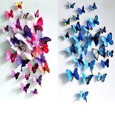 12pcs BRICOLAJE 3D Mariposa Arte Adhesivo De Pared Decoración Hogar