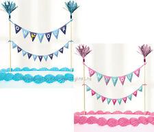 Christening Cake Picks Topper Bunting Flag Banner Party Decorations Boys Girls
