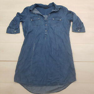 M&S Denim Tunic Top Size 18 Blue Stretch Buttons Collar Long Sleeve Casual